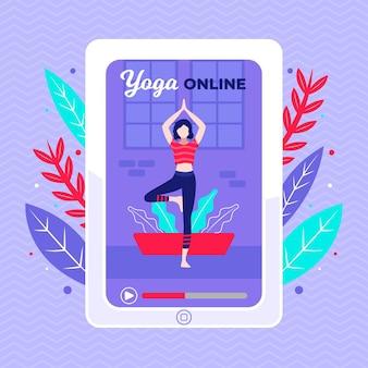 Conception plate de yoga classe en ligne concept