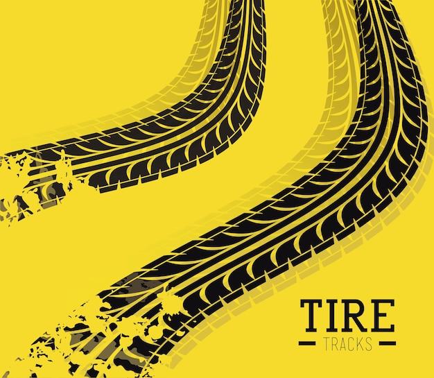Conception de pneus au cours de l'illustration vectorielle fond jaune