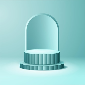 Conception de podium 3d bleu pour l'affichage du produit
