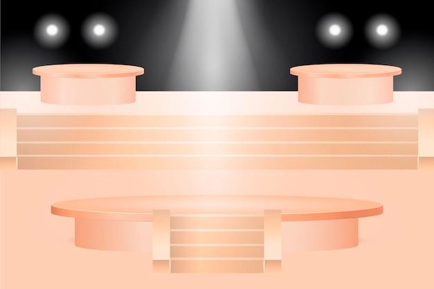 Conception de podium dégradé en rendu 3d