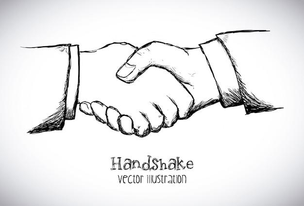 Conception de poignée de main sur l'illustration vectorielle fond blanc