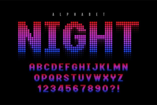 Conception de police d'affichage en demi-teinte en pointillés, alphabet et chiffres