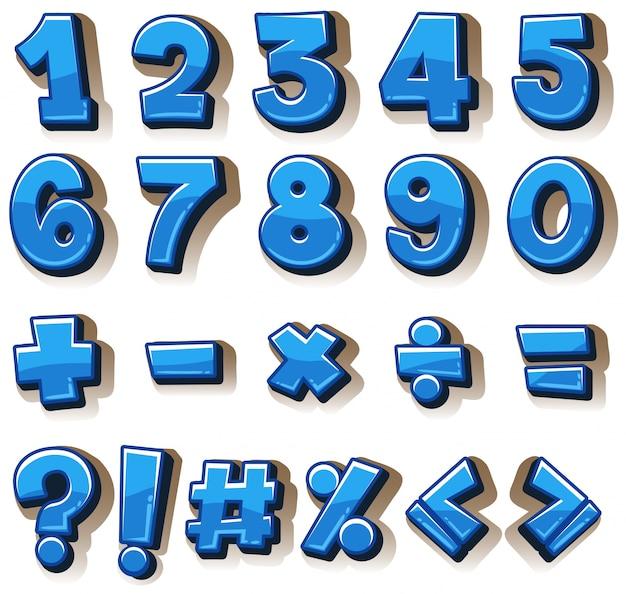 Conception de police pour les numéros et les signes en bleu