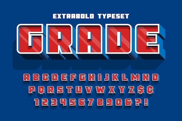 Conception de polices d'affichage 3d extrabold, alphabet, lettres et chiffres