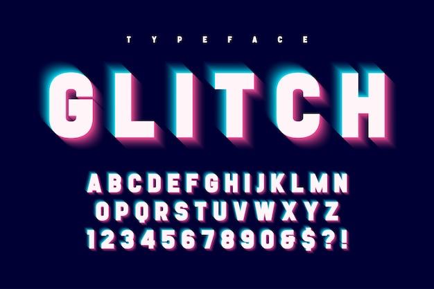Conception de polices d'affichage brillant glitched, alphabet, police de caractères