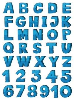 Conception de polices alphabet anglais en couleur bleue