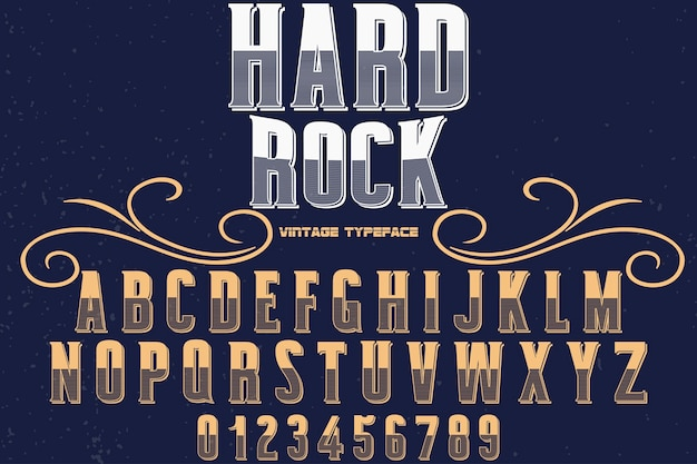 Conception de polices alphabet rétro hard rock