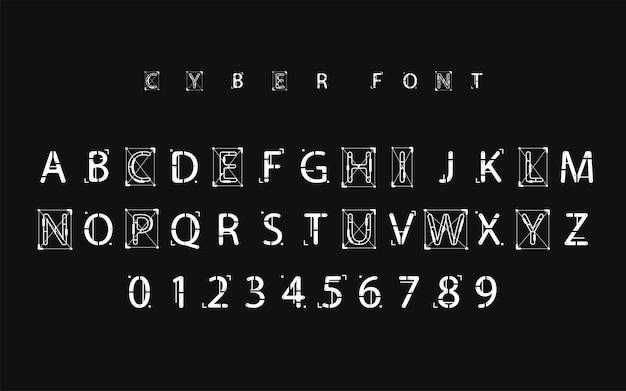 Conception de polices futuristes. lettres et chiffres pour le web et l'application. alphabet de polices de type techno. symboles de style numérique de haute technologie.