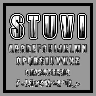 Conception de polices avec ligne, alphabet, police de caractères, typographie, lettres et chiffres. noir et blanc
