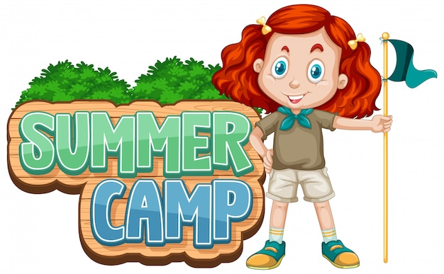 Conception de polices pour camp d'été avec un enfant mignon au parc