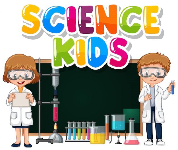 Conception de polices pour les enfants de science des mots avec des enfants dans le laboratoire de science