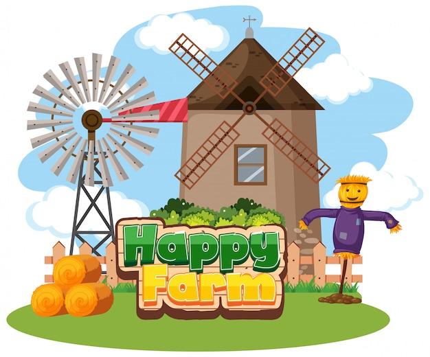 Conception de polices pour une ferme heureuse avec moulin à vent et épouvantail