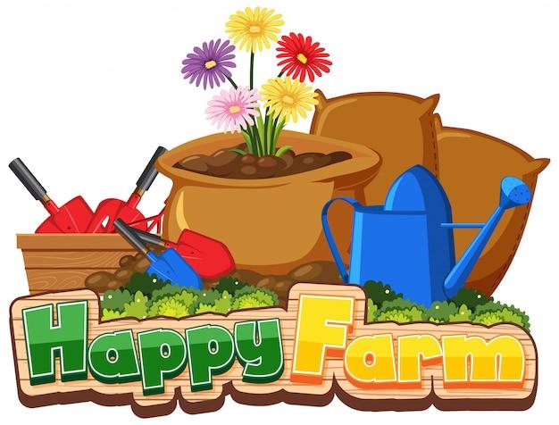 Conception de polices pour une ferme heureuse avec des outils de jardinage et des fleurs