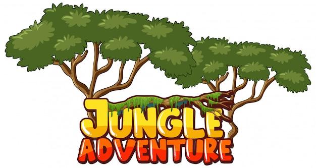 Conception de polices pour le mot aventure dans la jungle avec des arbres en arrière-plan