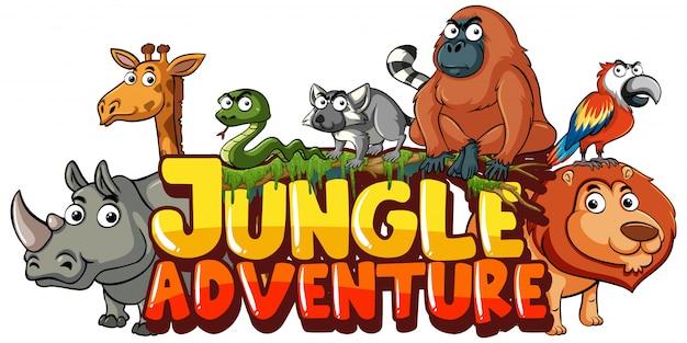 Conception de polices pour mot aventure dans la jungle avec fond d'animaux sauvages