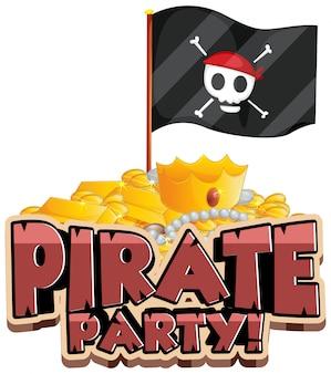Conception de polices pour le mot pirate party avec drapeau et or