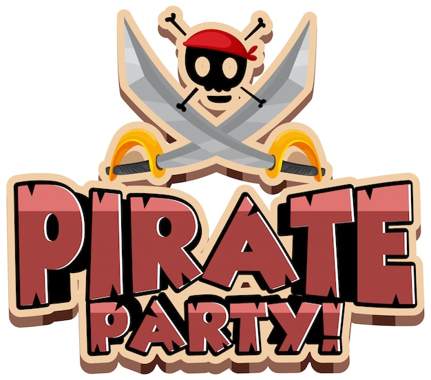 Conception de polices pour le mot pirate party avec épées et crâne