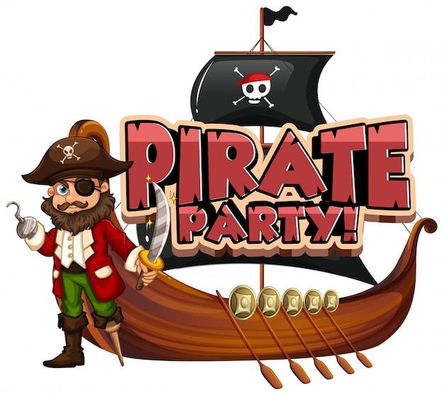 Conception de polices pour le mot pirate party avec pirate et bateau