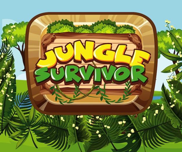 Conception de polices pour survivant de la jungle avec forêt