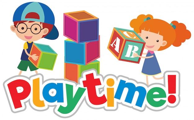 Conception de polices pour le temps de jeu de mots avec des enfants heureux jouant