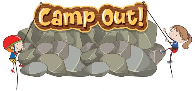 Conception de polices pour word camp avec des enfants escaladant le rocher