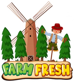 Conception de polices pour word farm fresh avec épouvantail et moulin à vent