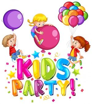 Conception de polices pour word kids party avec des enfants heureux et des ballons