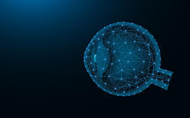 Conception de poly faible oeil, illustration polygonale de maillage filaire d'organe humain faite de points et de lignes sur bleu foncé