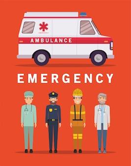 Conception de pompier et de médecin ambulancier paramédical