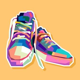 Conception de portrait de chaussures colorées pop art