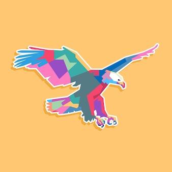 Conception de portrait pop art aigle coloré