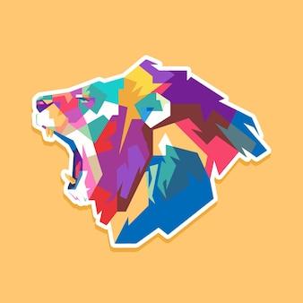Conception de portrait pop art lion coloré