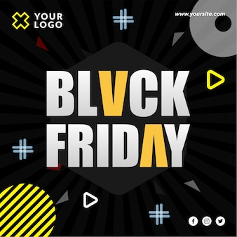 Conception de post instagram et médias sociaux de vendredi noir fantaisie