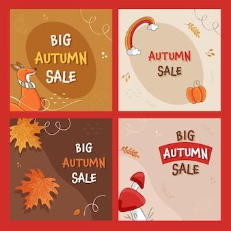 Conception de poste ou de modèle de vente d'automne avec une offre de réduction de 50 % en quatre options.