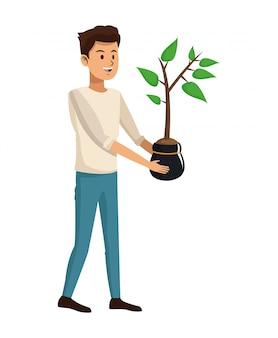 Conception de pot de plante jeune homme