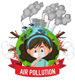 Conception pour arrêter la pollution avec fille portant un masque