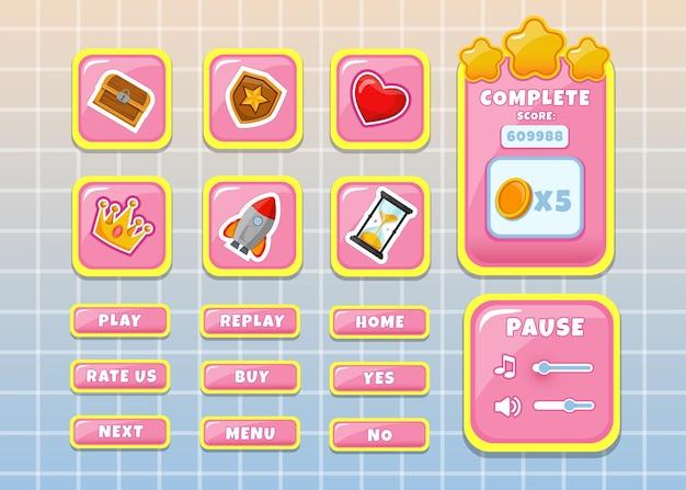 Conception pour ensemble complet de pop-up, icône, fenêtre et éléments de jeu de bouton de score pour la création de jeux vidéo rpg médiévaux