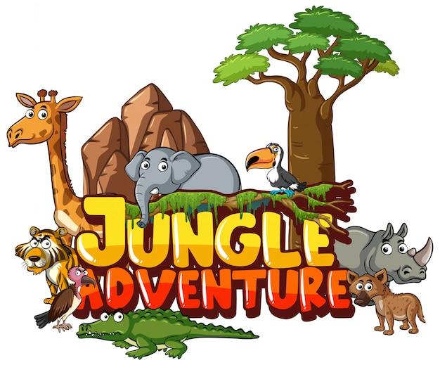 Conception pour mot jungle aventure avec des animaux sauvages en arrière-plan