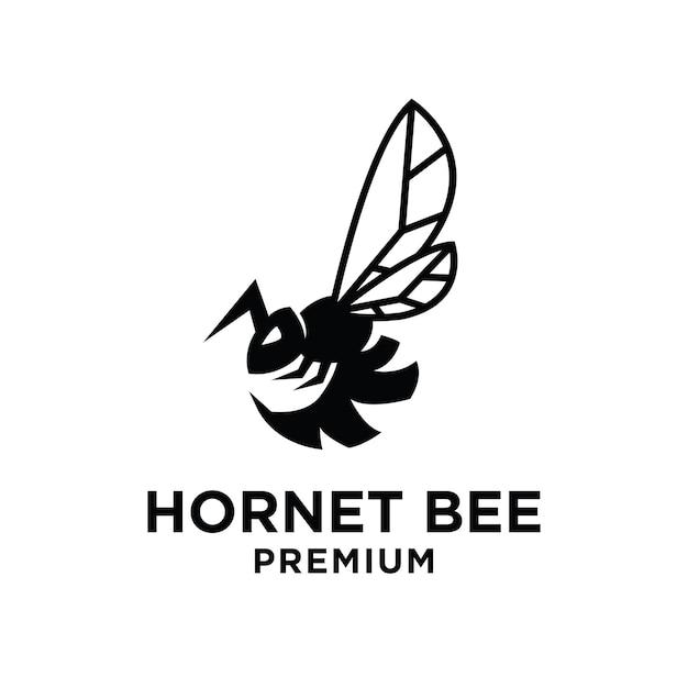 Conception premium de l'icône du logo abeille frelon vintage noir
