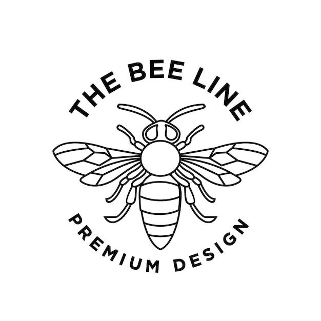 Conception premium de logo de ligne abeille frelon vintage