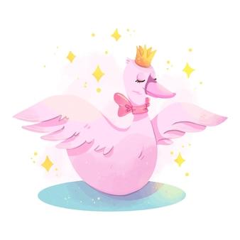 Conception de princesse cygne avec couronne