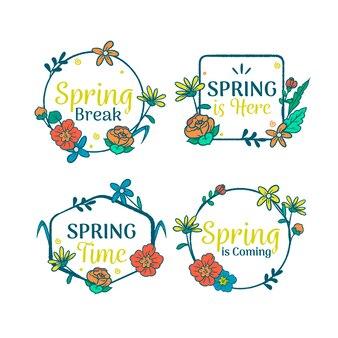 Conception de printemps pour la collection d'étiquettes