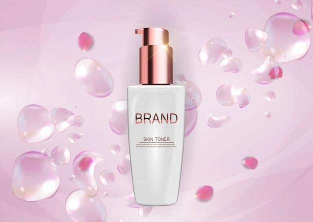 Conception de produits cosmétiques fond de modèle. 3d réaliste