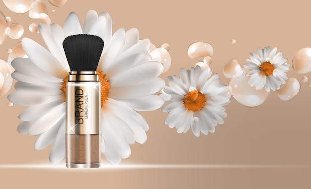 Conception de produits cosmétiques fond de modèle de poudre 3d réaliste