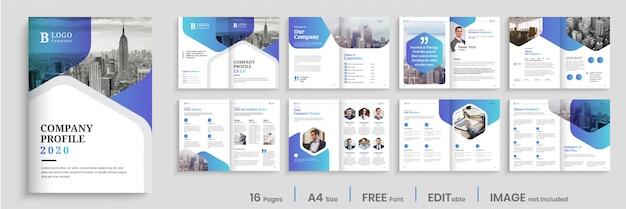 Conception de profil d'entreprise avec des formes dégradées modernes, conception de brochure de 16 pages