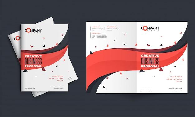 Conception de proposition d'entreprise créative, mise en page de modèle corporatif avec avant, arrière pages