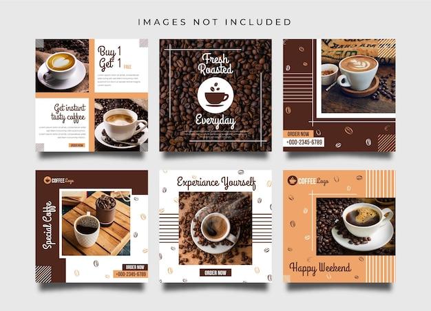 Conception de publication ou de bannière sur les réseaux sociaux de café