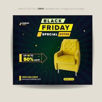 Conception de publication sur les médias sociaux du black friday ou conception de bannière de produit de site web ou conception de publicité web