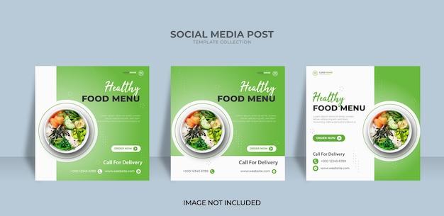 Conception de publication sur les médias sociaux instagram pour un menu sain
