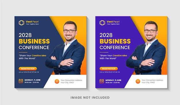 Conception de publication sur les médias sociaux pour une conférence d'affaires d'une agence de marketing numérique ou une bannière web modifiable